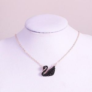 "Jewelry - 18"" Black Crystal Swan Pendant Necklace"